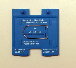 The reverse side of the battery hatch, including instructions, and the removable hanging hook. Image: Rory Bristol