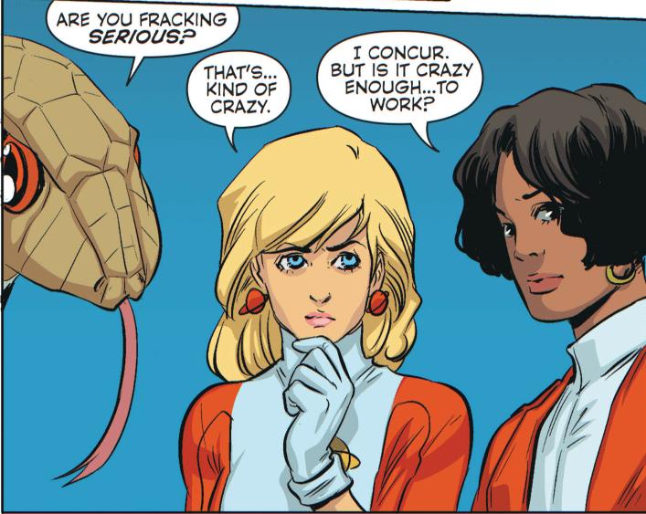 "I'm wrong, anyway. Their Sensor wasn't a snake. And no LoSH ever said ""frack"". Source: DC Comics."