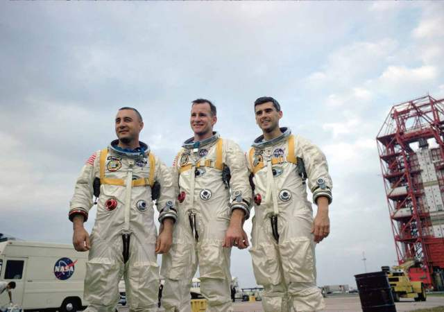 The crew of Apollo 1. Left to right are Grissom, White and Chaffee. Image in the public domain.