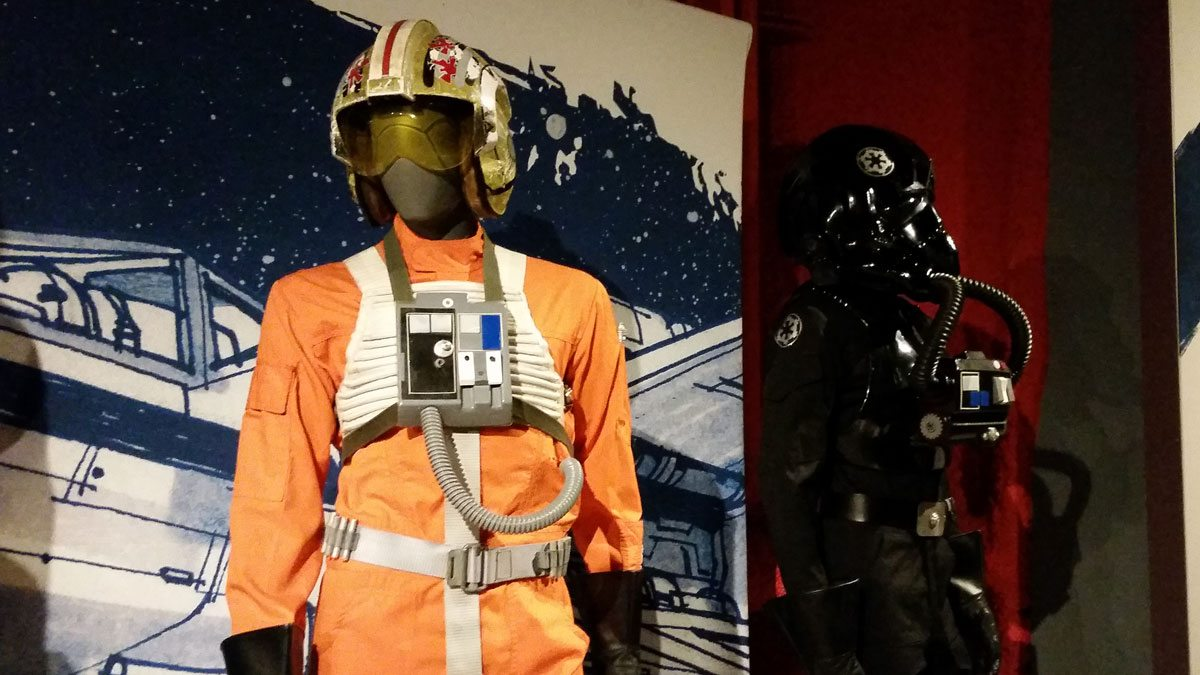 Luke's X-Wing pilot uniform and a TIE pilot. Photo by Rob Huddleston.