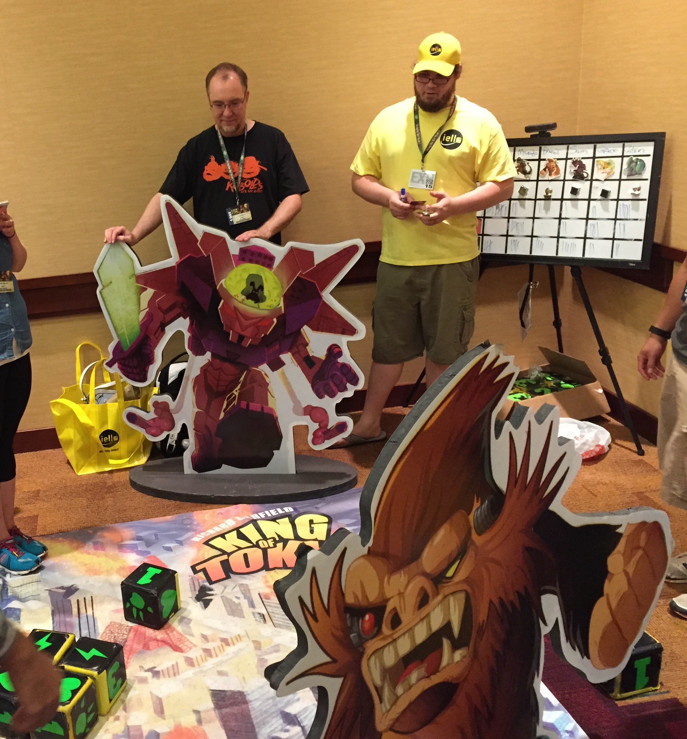Gamers playing the Giant edition of King of Tokyo