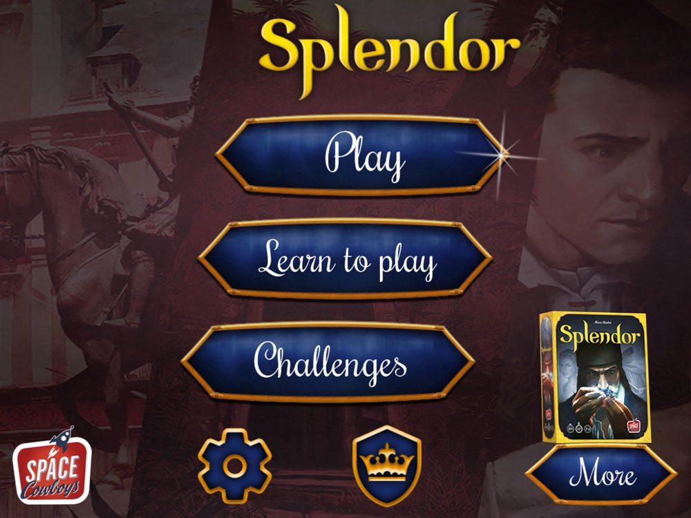Splendor app menu