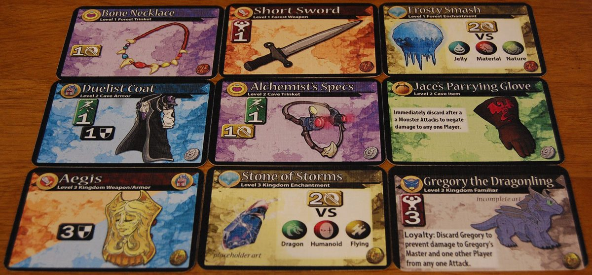Some of the Random Encounters loot cards from the prototype. Artwork subject to change. Image by Rob Huddleston.