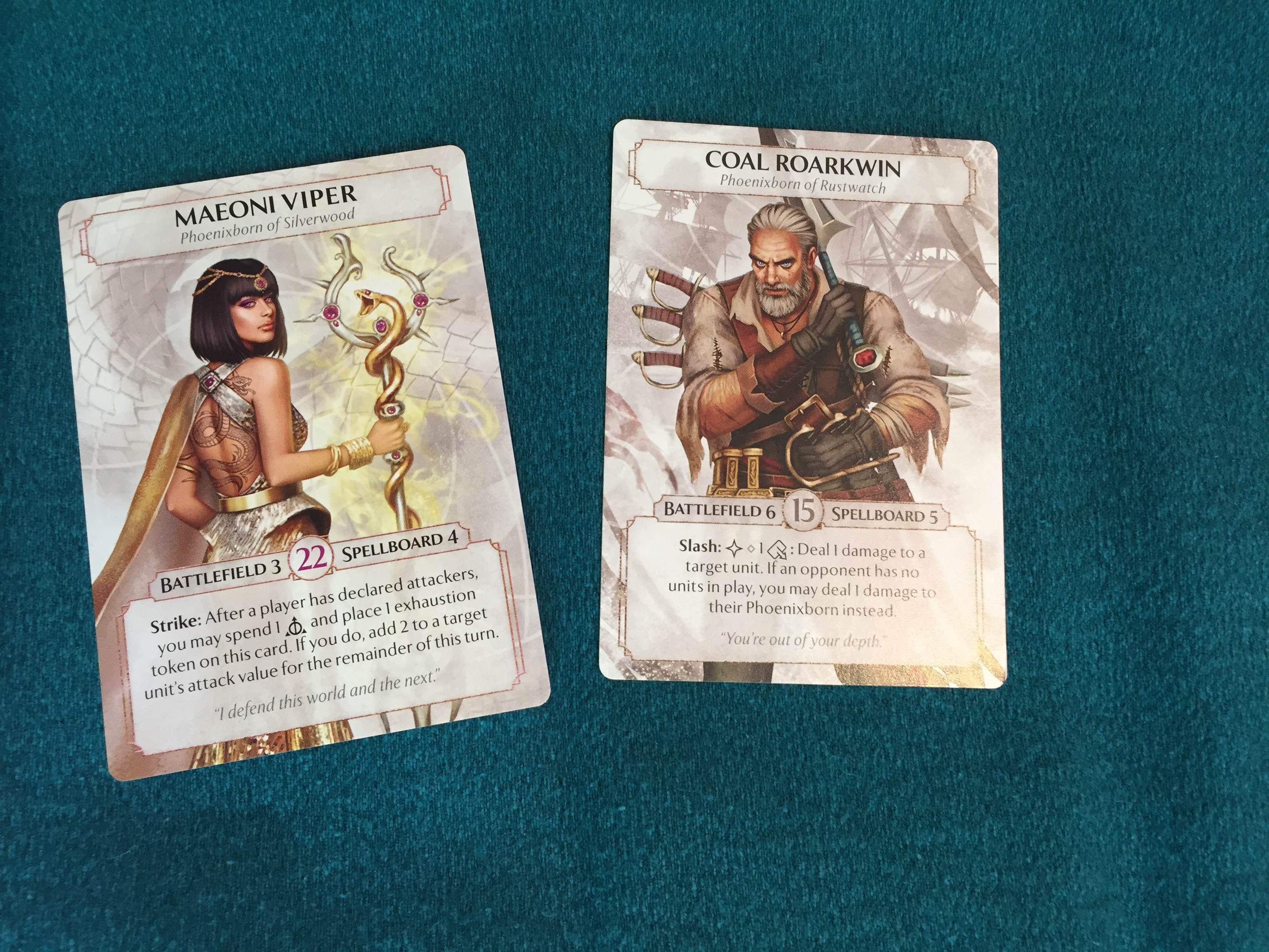 Maeoni Viper and Coal Roarkwin, the Phoenixborn characters we played with.