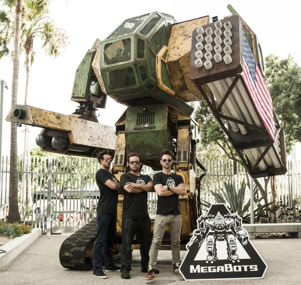 MegaBots Cofounders in front of the Mk II
