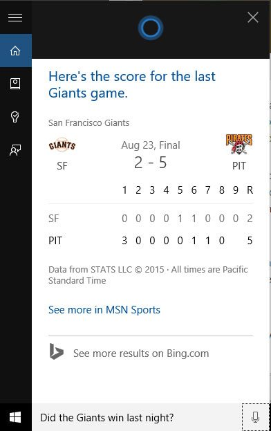 Cortana's answer to the Giants question.