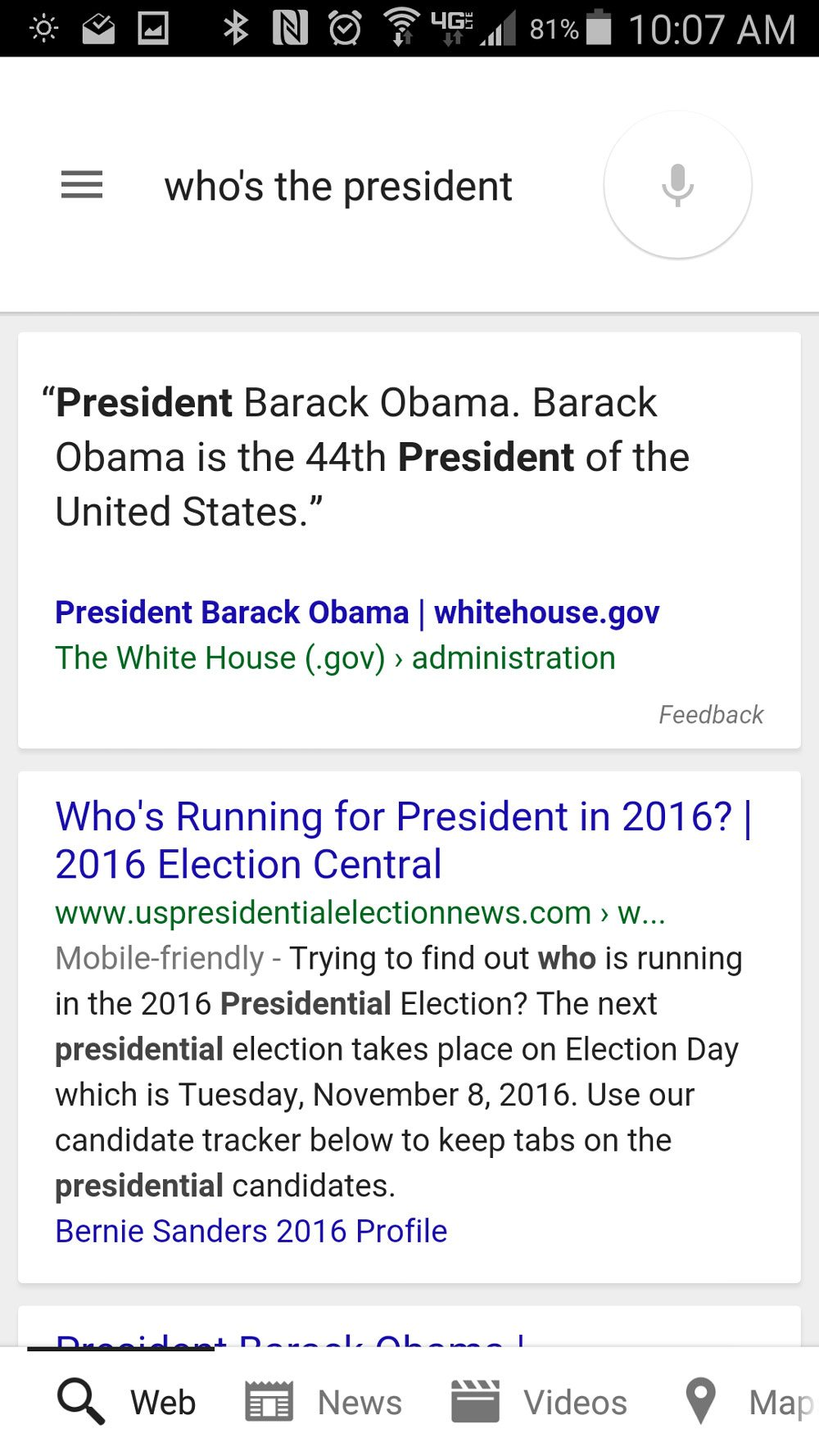 "Google Now's somewhat oddly different answer to ""who's the president?"""