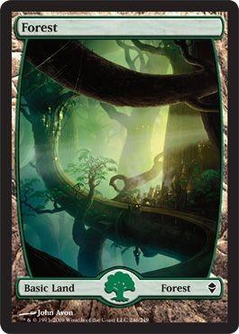 Full-art Forest card from the Zendikar series.