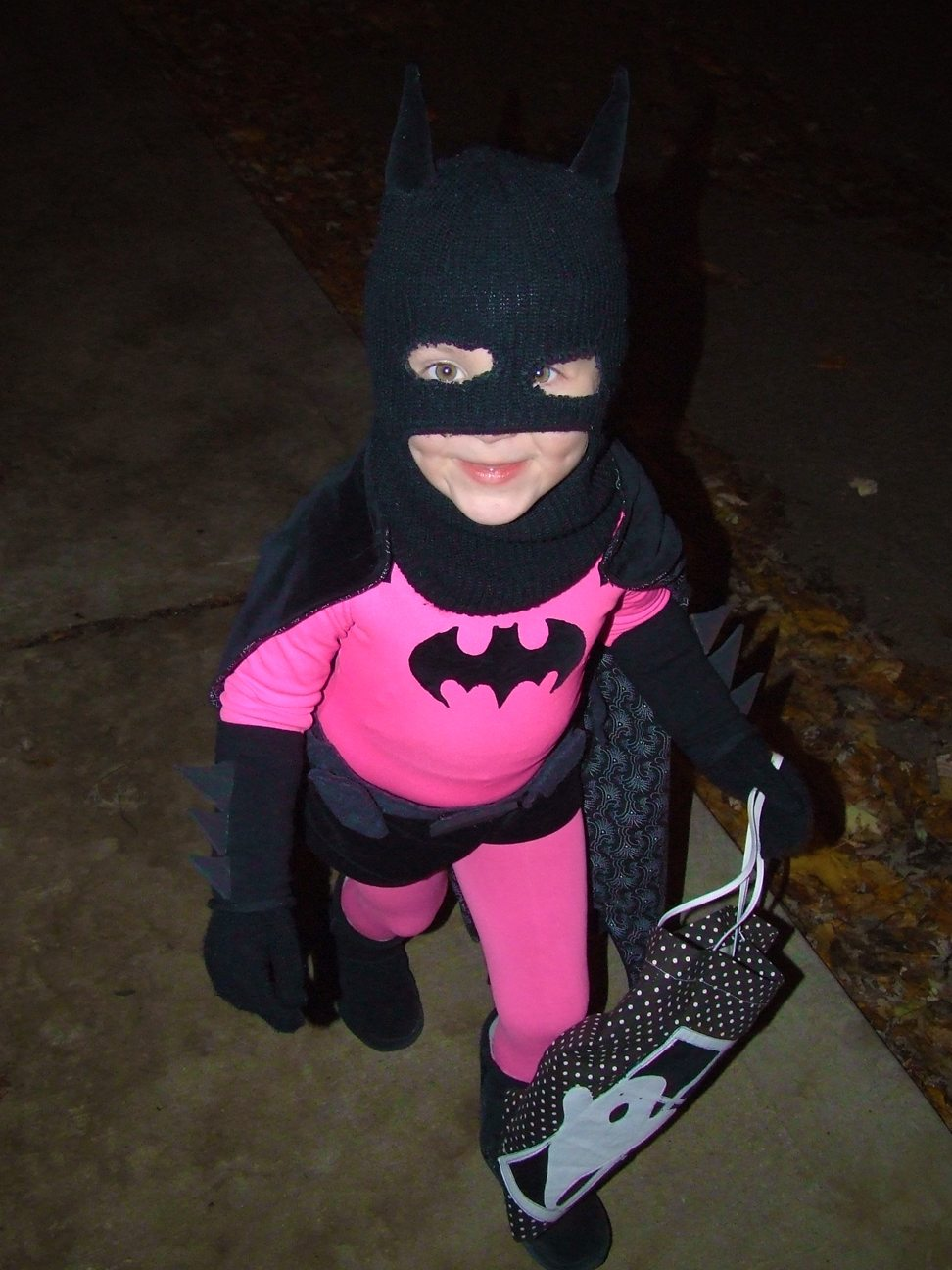 Pink Batman is not afraid of monsters! Photo by Evan Long, used under Creative Commons license.