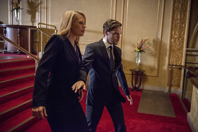 """Arrow -- """"The Candidate"""" -- Image AR402B_0273b -- Pictured: Jeri Ryan as Jessica Danforth and Alexander Calvert as Lonnie Machin Photo: Cate Cameron /The CW -- �© 2015 The CW Network, LLC. All Rights Reserved."""