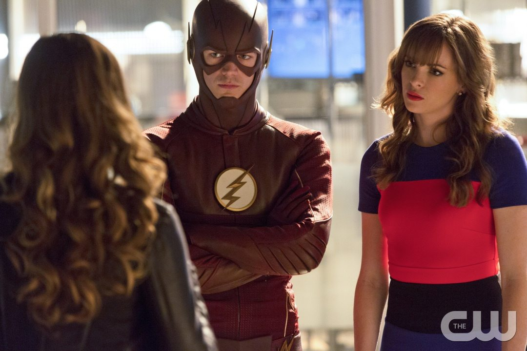 """The Flash -- """"Family of Rogues"""" -- Image FLA203a_0235b.jpg -- Pictured (L-R): Peyton List as Lisa Snart, Grant Gustin as The Flash, Danielle Panabaker as Caitlin Snow -- Photo: Jeff Weddell/The CW -- �© 2015 The CW Network, LLC. All rights reserved."""