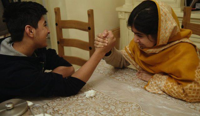 Khushal Yousafzai and Malala Yousafzai in Birmingham, England.