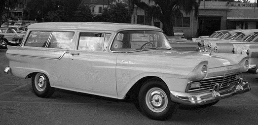The second series of The Secret Life of Machines started with a look at the car - like this Ford Ranch Wagon, photographed at a dealership in Tallahassee, Florida, USA in May of 1957. (From The Tallahassee Democrat Collection, State Library and Archives of Florida, no known copyright restrictions. Original photograph cropped by author).