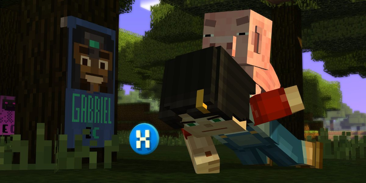 A minecraft figure does pushups, a pig on her back. The X button in blue on the screen indicates a button to be pushed on an XBox controller.
