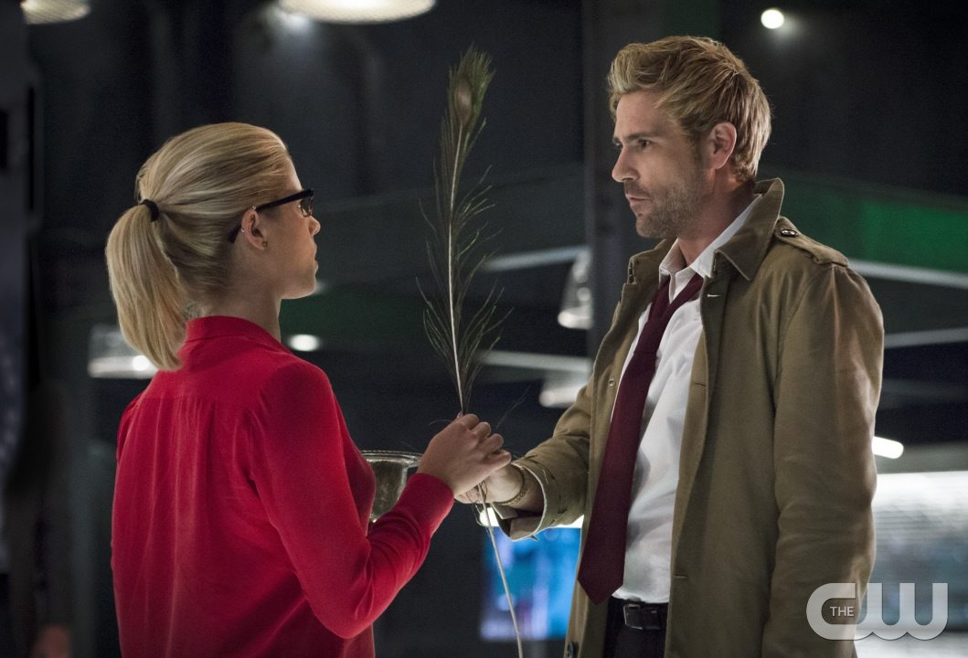 "Arrow -- ""Haunted"" -- Image AR404B_0050b.jpg -- Pictured (L-R) Emily Bett Rickards as Felicity Smoak and Matt Ryan as Constantine -- Photo: Cate Cameron/ The CW -- �© 2015 The CW Network, LLC. All Rights Reserved."