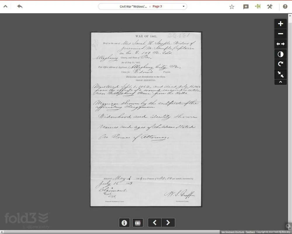 A pension page from my Civil War ancestor, Jeremiah Mosher Sample. Screenshot from Fold3.com.