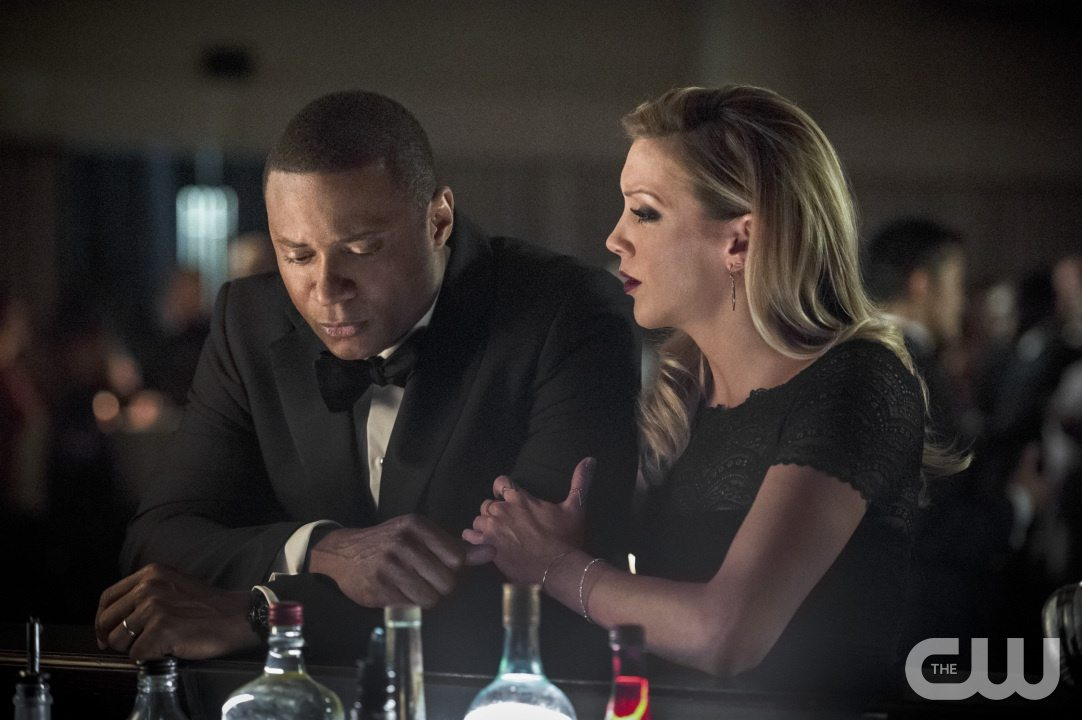 "Arrow -- ""Brotherhood"" -- Image AR407B_172b.jpg -- Pictured: David Ramsey as John Diggle and Katie Cassidy as Laurel Lance -- Photo: Cate Cameron/The CW -- �© 2015 The CW Network, LLC. All Rights Reserved."
