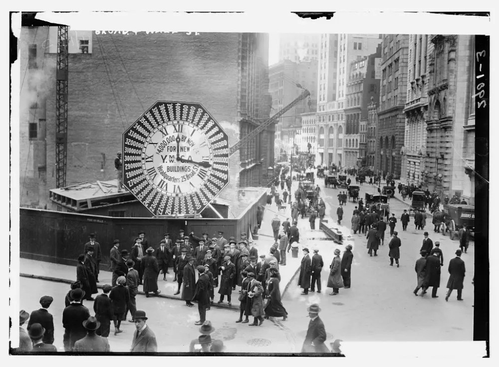Mechanical clocks (like this one at the construction site of the J.P. Morgan headquarters on the corner of Broad and Wall Streets, NYC, USA) were continually refined until being overtaken by electronic timekeepers in the middle of the 20th century. (Photo from the Library of Congress, Prints and Photographs Division, George Grantham Bain Collection - no known copyright restrictions.)