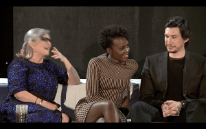 """""""Uh, yeah, what?"""" Lupita Nyong'o reacts to a question from Mindy Kaling about her character's relationship with Yoda, who is not in the film."""