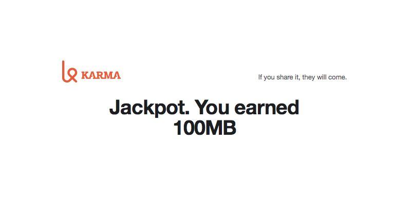 Karma Go Earns 100 MB
