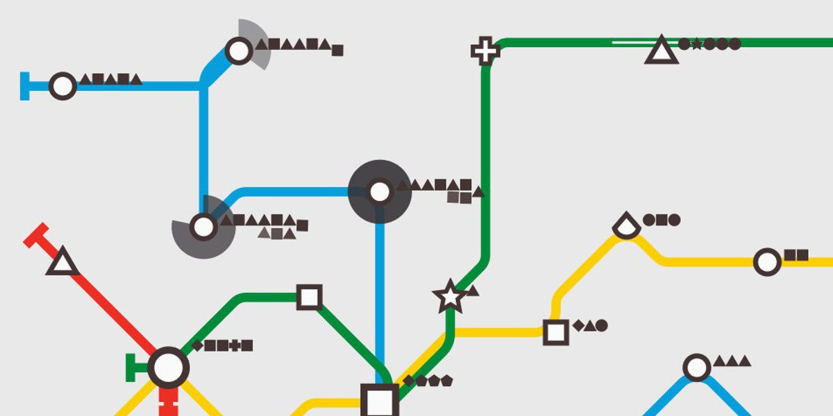 Small portion of a Mini Metro map showing passengers backed up at two stops with large dark grey circles growing around their stations.