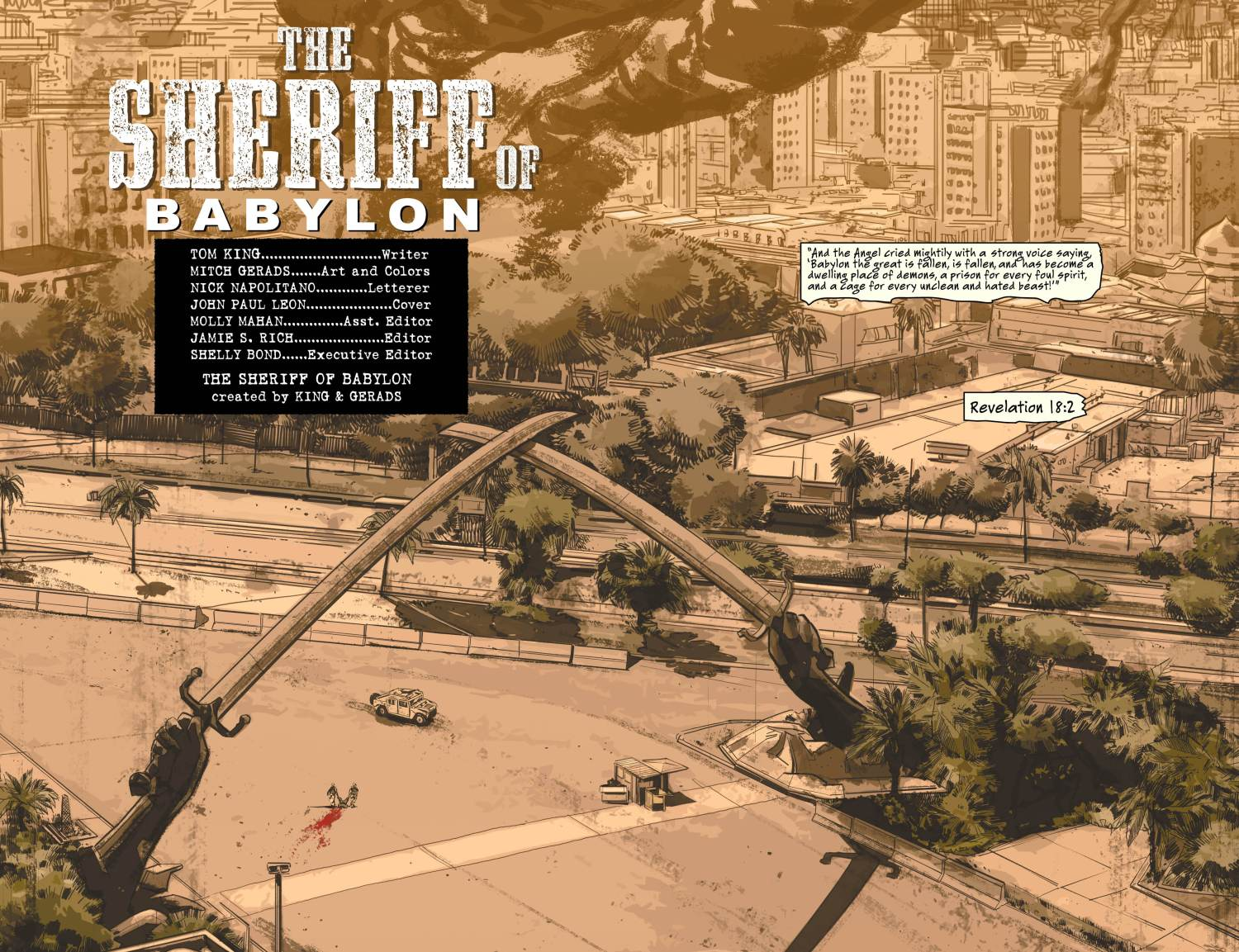 The splash page to the Sherrif of Babylon. Look carefully. image via Vertigo Comics