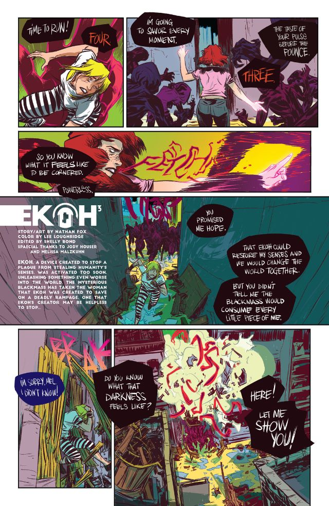 Page from Ekoh, the opening story in SFX: Bang!