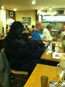 The author enjoying a National Gorilla Suit Day dinner at Cantor's Deli in Los Angeles, January 31, 2014.