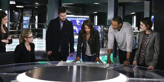 "Arrow -- ""Taken"" -- Image AR415b_0136b.jpg -- Pictured (L-R): Anna Hopkins as Samantha, Emily Bett Rickards as Felicity Smoak, Stephen Amell as Oliver Queen / The Green Arrow, Megalyn E.K. as Vixen, David Ramsey as John Diggle, and Willa Holland as Thea Queen / Speedy -- Photo: Bettina Strauss/ The CW -- �© 2016 The CW Network, LLC. All Rights Reserved."