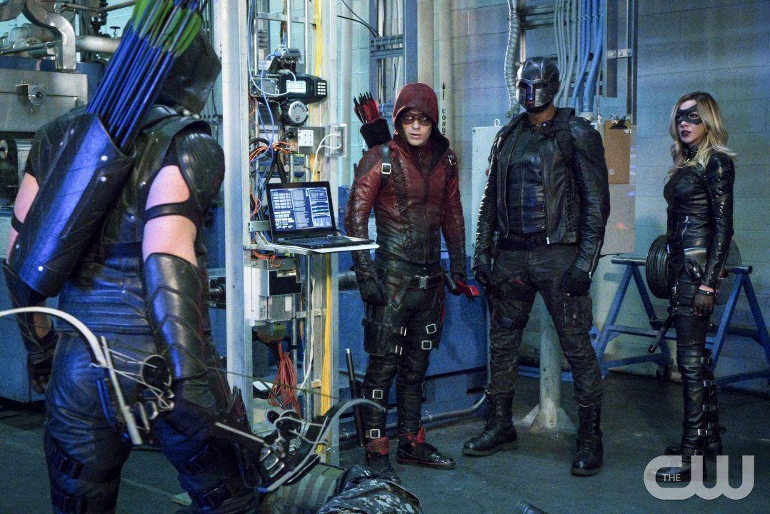 "Arrow -- ""Unchained"" -- Image AR412A_0054b.jpg -- Pictured (L-R): Stephen Amell as Green Arrow, Colton Haynes as Arsenal, David Ramsey as John Diggle and Katie Cassidy as Black Canary -- Photo: Liane Hentscher/ The CW -- �© 2016 The CW Network, LLC. All Rights Reserved."