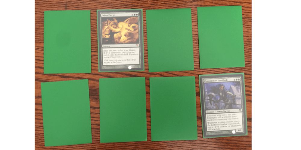 Matching block symbols, or colors, or types, or costs are all great options for secondary games using Magic cards. Image: Rory Bristol