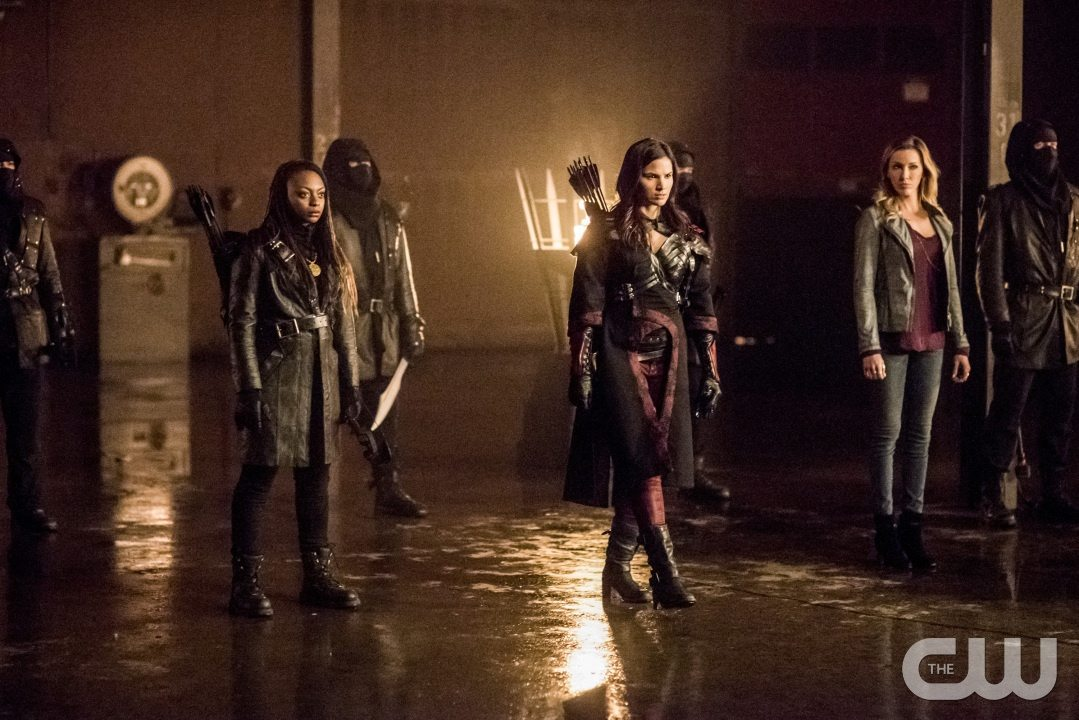 """Arrow -- """"Sins of the Father"""" -- Image AR413b_0330b.jpg -- Pictured (L-R): Natasha Gayle as Talibah, Katrina Law as Nyssa al Ghul, and Katie Cassidy as Laurel Lance -- Photo: Dean Buscher/ The CW -- �© 2016 The CW Network, LLC. All Rights Reserved."""
