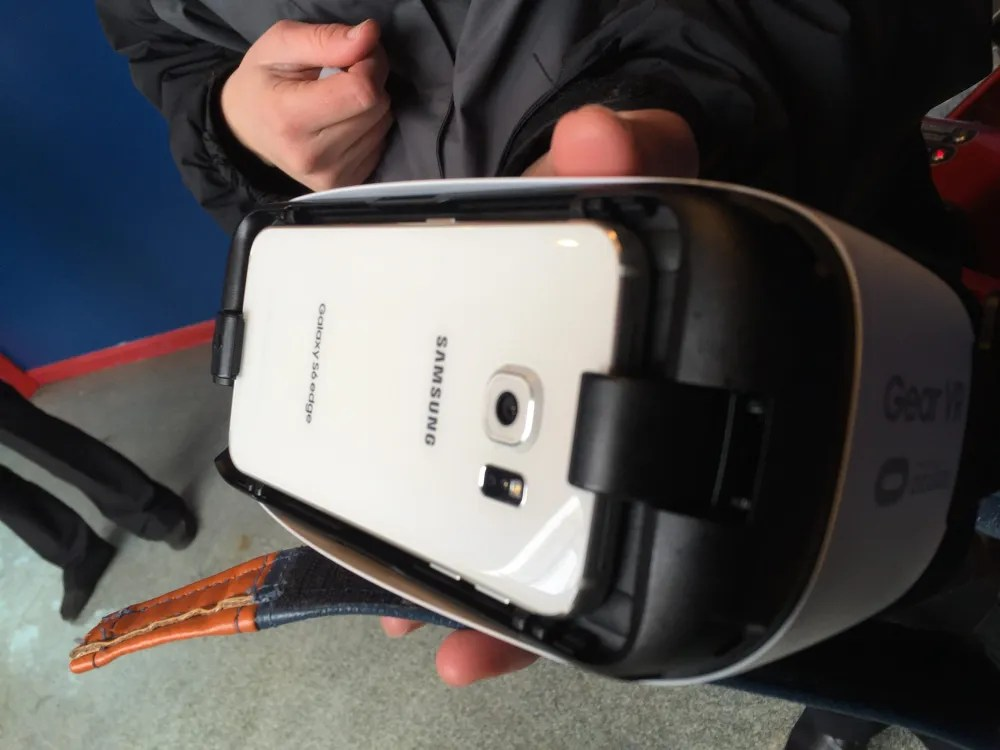 Prototype Samsung Gear VR googles for Superman: The Ride.