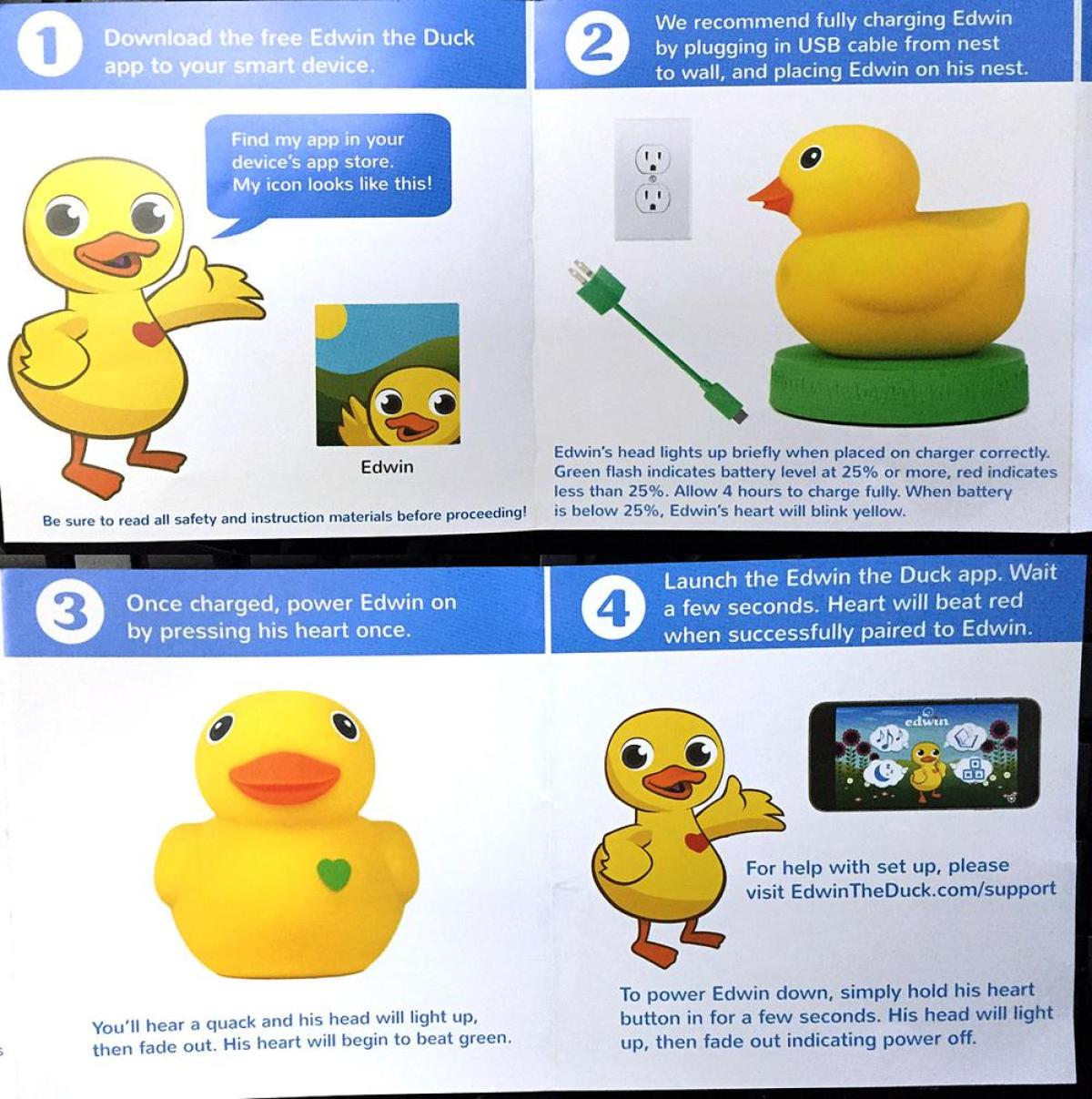 First to review yellow rubber duck click here to cancel reply - Setup Is Really Easy And Straightforward Unbox Edwin Plug In His Charging Base And Have Him Sit On It While Edwin Is Charging Hop Over To The Itunes