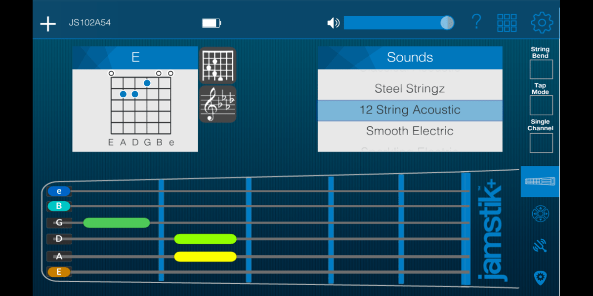 Screenshot from jamstik+ app, showing three frets in colors indicating they've been pressed, and the E chord identified at the top of the screen.