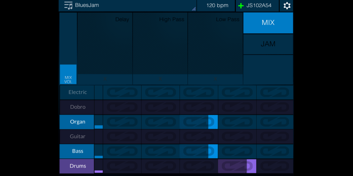 Screenshot from iPhone showing the jam mix interface.
