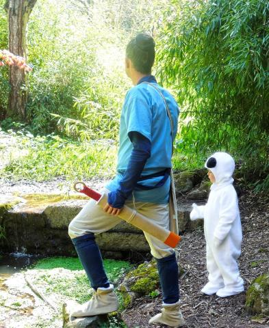 Ashitaka and a kodama take a break by a stream. Photo by Sarah James.