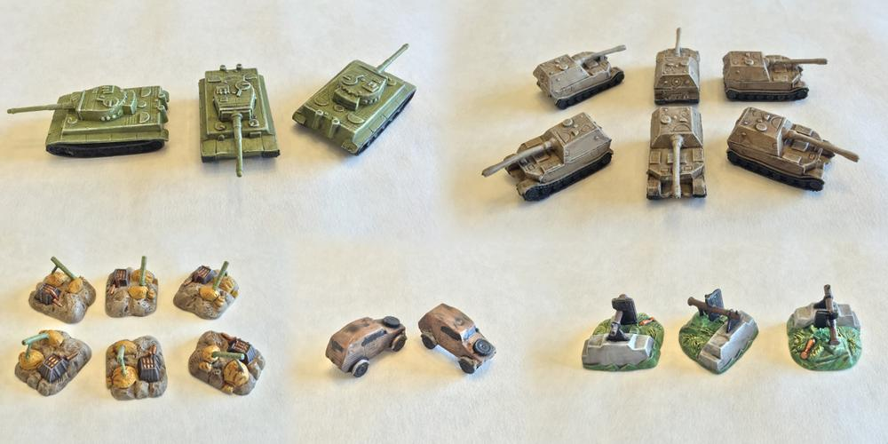 Five painted Memoir '44 miniatures with dry brushing completed.