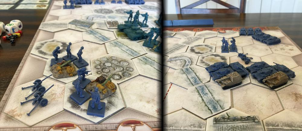 Memoir '44 board set up with the upgraded M2 Mortar and Tank destroyers shown alongside the other game pieces.