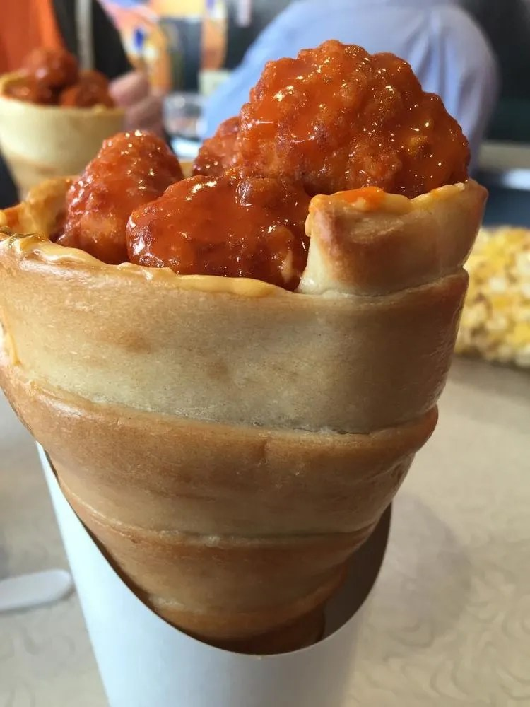 A buffalo chicken macaroni and cheese cone, from of the 1950s eatery near the Fireball. photo by Corrina Lawson