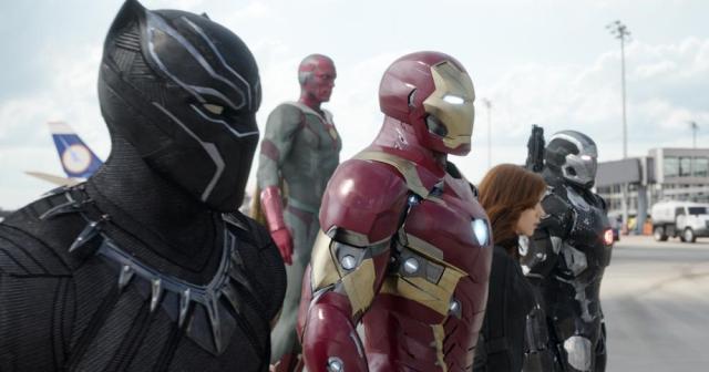 Team Iron Man: Black Panther (Chadwick Boseman), Vision (Paul Bettany), Iron Man (Robert Downey Jr.), Black Widow (Scarlett Johansson), and War Machine (Don Cheadle). Photo Credit: Film Frame © Marvel 2016