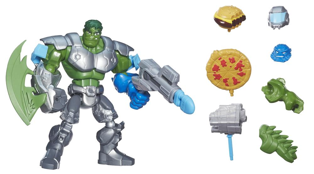 """Why does the Hulk come with a burger and pizza?"" ""Better question: Why don't the others?"""
