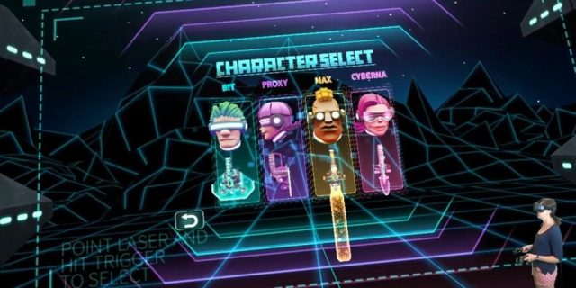 First person perspective choosing which of four characters to play with the human player inset on the bottom right.