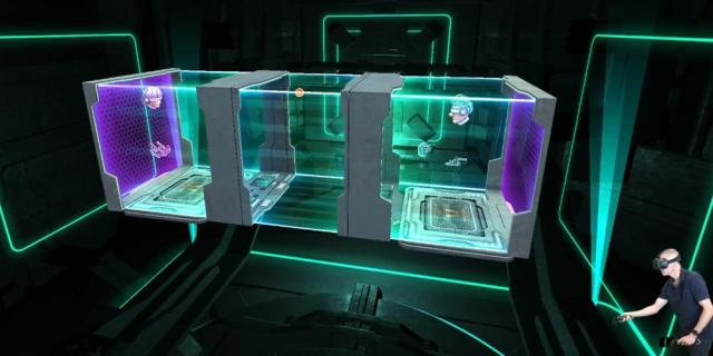 External view of multiplayer game, one floating head/arms at each end of a tunnel in Cyberpong VR.