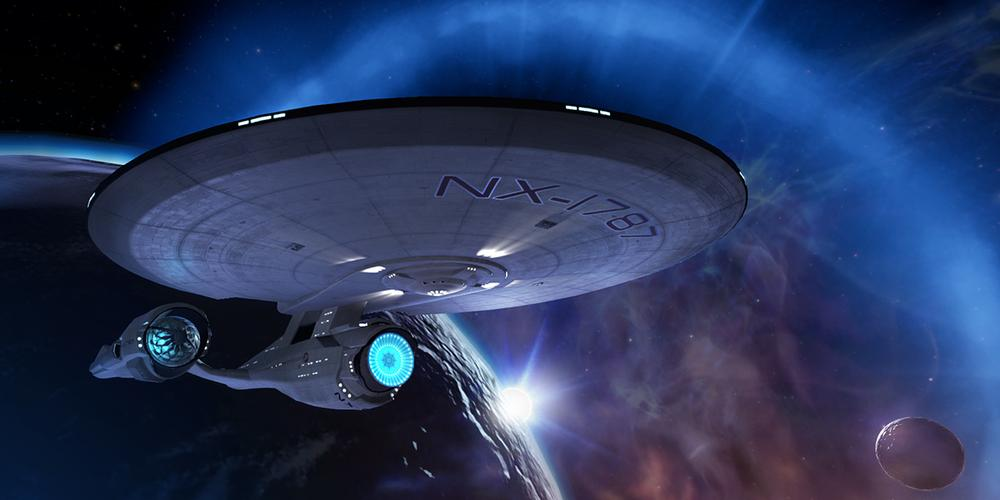 External shot of the U.S.S. Aegis orbiting a planet in 'Star Trek: Bridge Crew'.