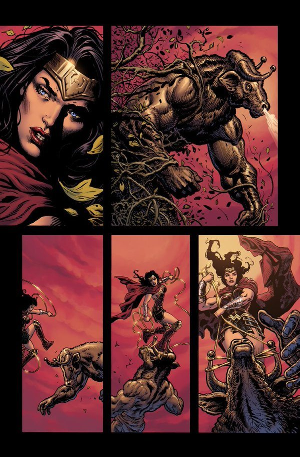 Wonder Woman fights the monsters in Wonder Woman Rebirth #1, image copyright DC Comics
