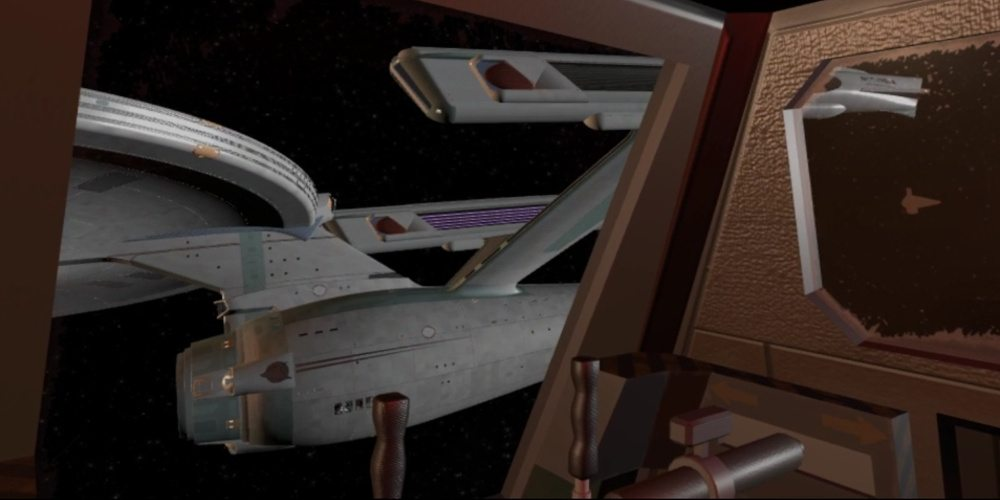 """A view from inside a shuttlecraft in """"The Constitution Class Experience"""" looking at NCC-1701-A."""