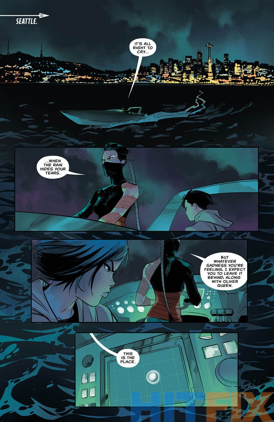 Emiko, caught in a bad situation, Green Arrow #2, image via DC Comics