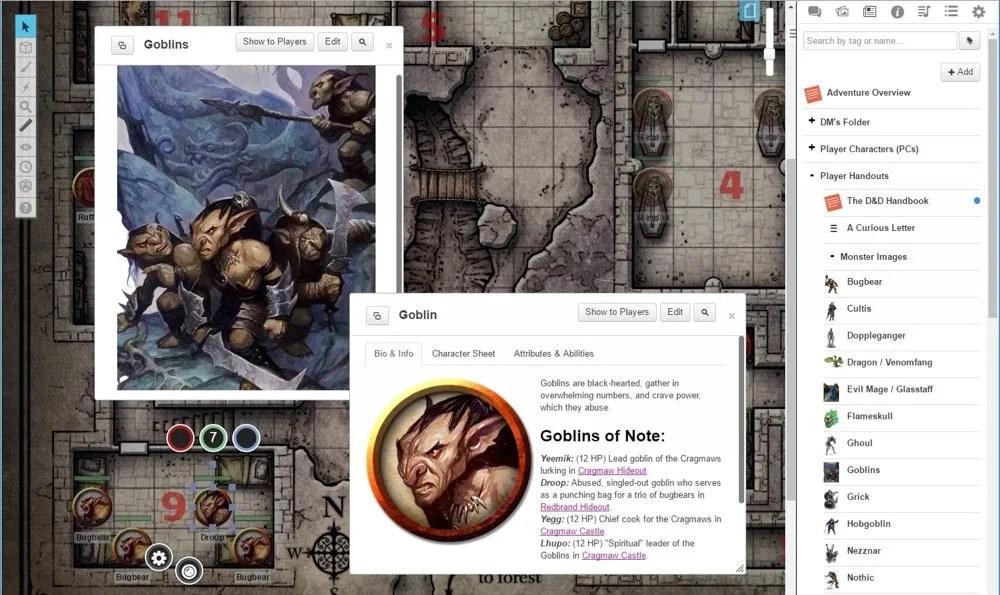 Screenshot of Roll20 Lost Mine of Phandelver