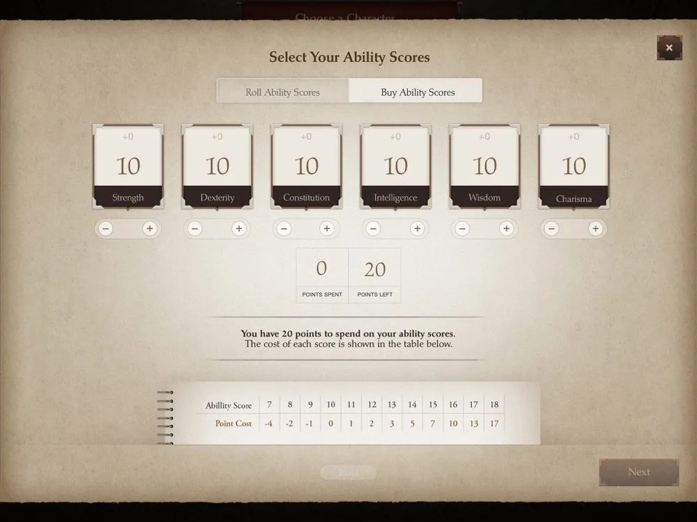 Playbook Ability Scores Screen